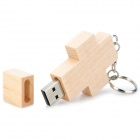 MUT-09 Cross Shape Wood + Iron USB 2.0 Flash Drive Disk - Beige + Silver (8GB)