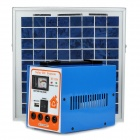 Solar Powered 4500mAh Generator w/ 2 LED Bulbs + Power Bank - Blue + White + Silver