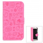 Cartoon Style Protective PU Leather Case for Samsung Galaxy S4 i9500 - Deep Pink