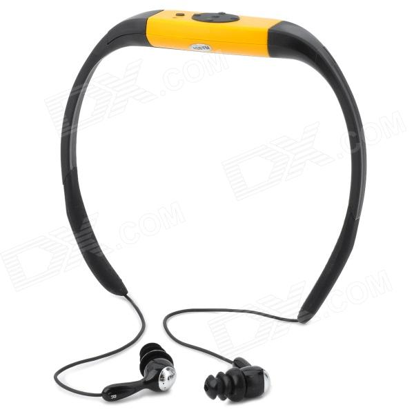 Sport Waterproof Rechargeable In-Ear Headphone MP3 Player w/ FM Radio - Yellow + Black (4GB) stylish waterproof mp3 player w fm silver orange 4gb
