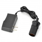 FXA034 Home AC Power to DC Car Cigarette Lighter Female Plug Adapter - Black (2-Flat-Pin Plug)