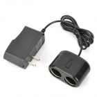 12W AC Power to DC Dual Car Cigarette Lighter Socket Adapter - Black (2-Flat-Pin Plug)