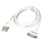 WOOL PG4 30-Pin Male to USB Male Charging Data Cable for iPhone 4 / 4S - White (1m)