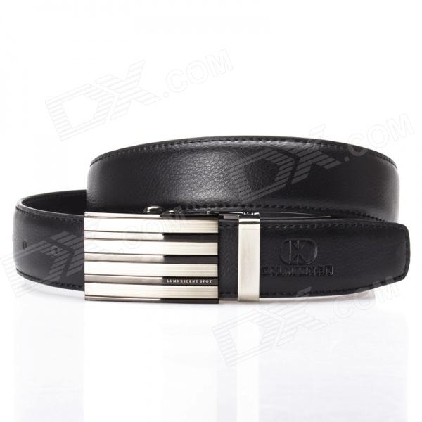 Calmoon 109 Men's Stylish Cow Leather Belt w/ Zinc Alloy Buckle - Black + Silver (135cm)