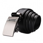 Calmoon 102 Men's Cow Leather Belt  w/ Automatic Zinc Alloy Buckle - Black + Silver (135cm)
