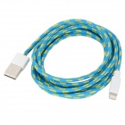 USB Male to Lightning 8-Pin Male Data Charging Woven Cable - Blue (2m)
