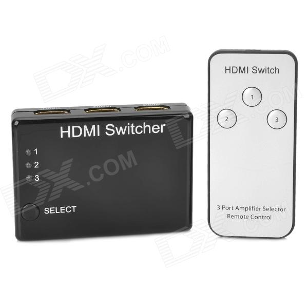 3-Input 1-Output HDMI Switcher w/ Remote Controller - Black 3 port hdmi switcher 3 way mini hdmi switcher