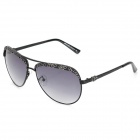LANGTEMENG UV400 Protection High-Nickel Alloy Frame Resin Lens Lady's Sunglasses - Black