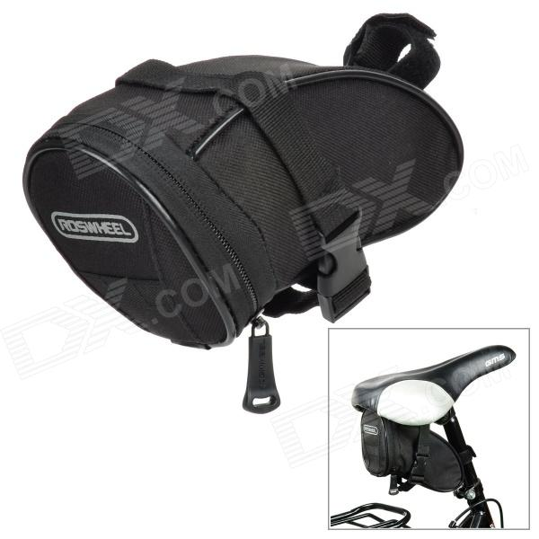ROSWHEEL 13656 Cycling Bicycle Bike Saddle Seat Polyester Tail Bag - Black (1.3L) roswheel mtb bike bag 10l full waterproof bicycle saddle bag mountain bike rear seat bag cycling tail bag bicycle accessories