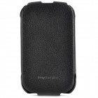HOCO Protective Top Flip-open Cowhide Leather Case for Blackberry 9900/ 9930 - Black