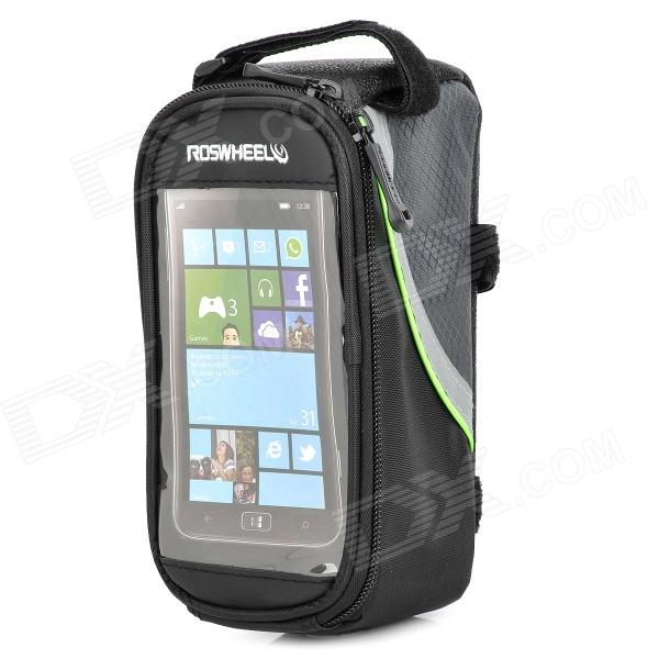 Roswheel 12496M-G5 Saddle Touch Screen Bag for Cell Phone w/ Earphone Hole - Black + Green