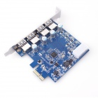 AKE-005 4-Port USB 3.0 High Speed PCI-E Expansion Card for Desktop - Blue + Silver