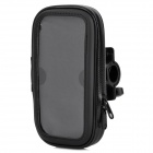 Bicycle Cycling Rainproof PU Leather Bag w/ Transparent Window for Smart Mobile Phone - Black
