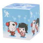 Lucky Couple Pattern Memo Paper Note Cube - Blue (750 Sheets)