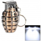 Stylish Grenade Shape Red / White Light LED Keychain - Coppery (3 x LR1130)