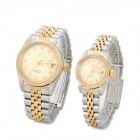 Lucky Family 001 Fashionable Couple's Mechanical Analog Wrist Watches - Silver + Golden (Pair)