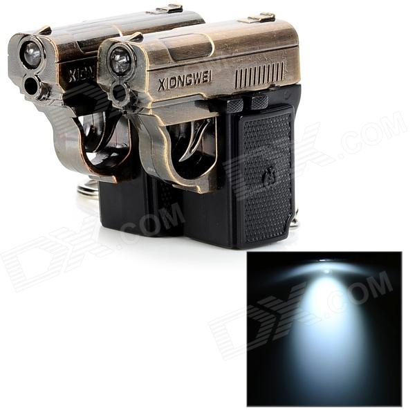 Creative Pistol Shape Infrared and White Light LED Flashlight Keychain - Coppery (2 PCS / 3 x LR44) - LED Gadgets - Lights and Lighting