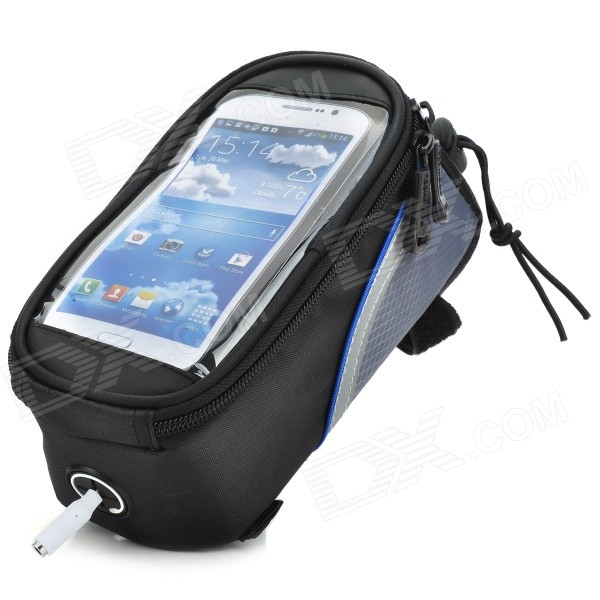 Roswheel 12496M-B5 Bike Saddle 4.8 Touch Screen Bag for Cell Phone w/ Earphone Hole - Black + Blue