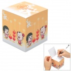 Paperworker LKzz05 Lucky Couple Pattern Memo Paper Note Cube - Yellow + White (750 Sheets)