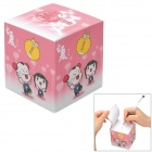 Paperworker LKzz04 Lucky Couple Pattern Memo Paper Note Cube - Pink (750 Sheets)