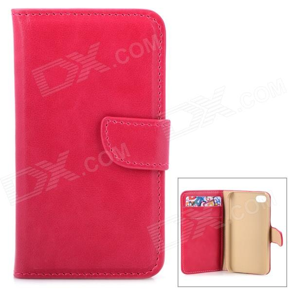 Stylish Flip-open PU Leather Case w/ Holder + Card Slots for Iphone 4 / 4s - Deep Pink solid color litchi pattern wallet style front buckle flip pu leather case with card slots for doogee x10