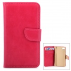 Stylish Flip-open PU Leather Case w/ Holder + Card Slots for Iphone 4 / 4s - Deep Pink