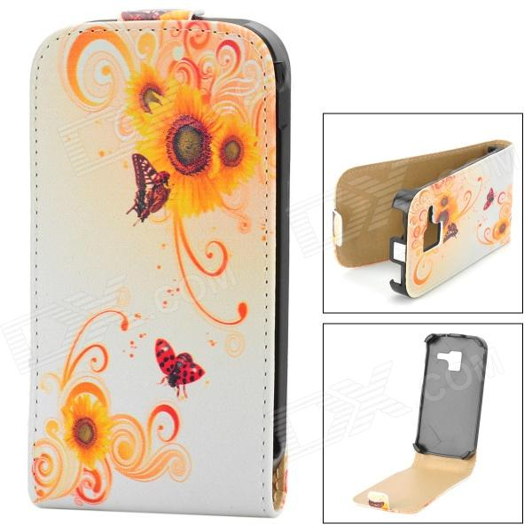 Stylish Floral Pattern Flip-open PU Leather Case for Samsung Galaxy Ace 2 i8160 - White + Yellow slim magnetic flip leather case cover for iphone 5 5s 5c 4s 4 3gs for ipod touch for samsung galaxy ace 2 i8160 for sony xperia go st27i