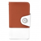 Stylish Flip-open PU Leather + PC Case w/ Holder + Card Slot for Iphone 4 - Brown + White