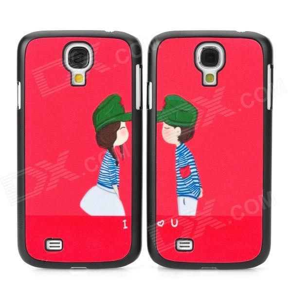 Cute Couple's Pattern Plastic Back Case for Samsung S4 i9500 - Black + Red + Green + White (2 PCS) fashionable cute moustache pattern plastic back case for samsung galaxy s4 i9500 multicolored