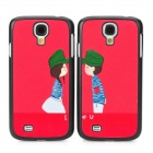 Cute Couple's Pattern Plastic Back Case for Samsung S4 i9500 - Black + Red + Green + White (2 PCS)