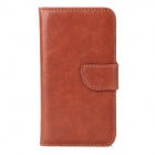Protective Flip Open PU Leather + Plastic Case w/ Stand / Card Slots for Iphone 4 - Browm