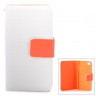 Protective Flip Open PU Leather + Plastic Case w/ Card Slots / Strap for Iphone 4 - White + Orange