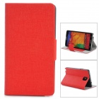 YSY-001 Protective Flip Open Leather Case w/ Stand / Card Slots for Samsung Note 3 - Red