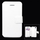 Stylish Flip-open PU Leather + PC Case w/ Holder + Card Slot for Iphone 4 / 4s - White