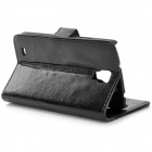 Protective Flip Open PU Case w/ Stand / Card Slots for Samsung Galaxy S4 Active / i9295 - Black