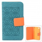 Protective Flip Open PU + Plastic Case w/ Stand / Card Slots / Strap for Iphone 4 - Green + Orange