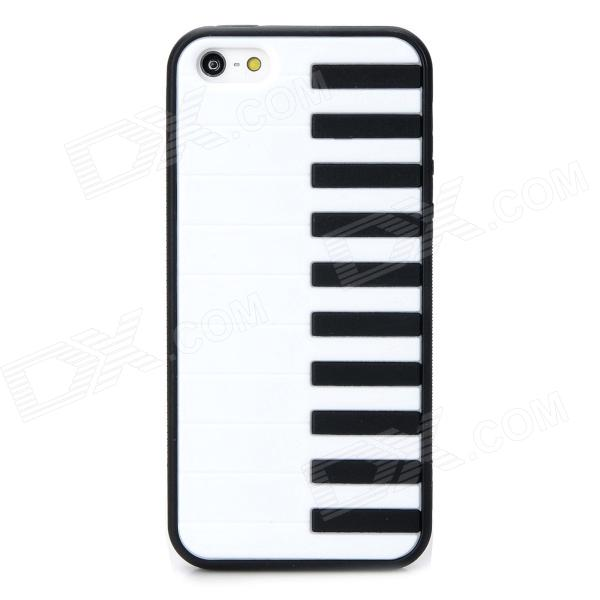 Stylish Piano Key Pattern Plastic + TPU Back Case for Iphone 5 / 5s - White + Black protective patterned tpu back case cover for iphone 5 5s white black