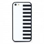 Stylish Piano Key Pattern Plastic + TPU Back Case for Iphone 5 / 5s - White + Black