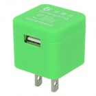 BL-008 Foldable US Plug 100~240V Power Adapter / Charger w/ USB 2.0 Port - Green