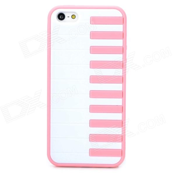Stylish Piano Key Pattern Plastic + TPU Back Case for Iphone 5 / 5s - White + Pink