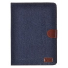 Protective Plastic + PU Leather Case w/ Stand + Card Slots for Ipad AIR - Bluish Black