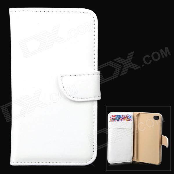Simple Plain Flip-open PU Leather + PC Case w/ Holder + Card Slot for Iphone 4 - White simple plain flip open pu leather case w card slot for iphone 5s black
