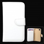 Simple Plain Flip-open PU Leather + PC Case w/ Holder + Card Slot for Iphone 4 - White