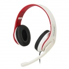 OVLENG Q8 USB Wired Stereo Headphones w/ Microphone - White + Red + Black
