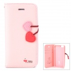 Hellodeere Stylish Protective PU Leather + TPU Case w/ Card Holder Slots for Iphone 5 - Pink