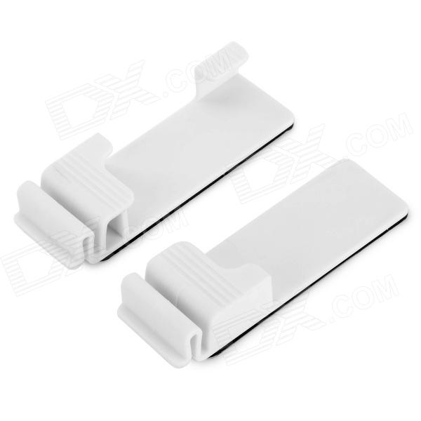 YS10258 Universal Plastic Wall Mount Holder Hook voor Smart Phone + Tablet PC - Wit (2 stuks)