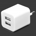 Universal Mini Portable 5V 2.1A EU Plug Dual Female USB Output Power Adapter for Cellphone - White