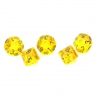 Acrylic Polyhedral Dice for Board Game - Translucent Yellow (5 PCS)