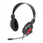 OVLENG V5 Stylish Stereo Headphones w/ Microphone for Computer - Black + Red (3.5mm Plug / 1.75m)