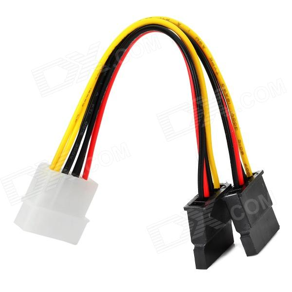 1-to-2 Type-D 4-Pin to SATA Power Adapter Cable - Multicolored (15cm)